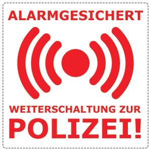 5x Alarm gesichert, Alarmanlage, Überwacht Aufkleber 5x5 cm, Weiß/Rot