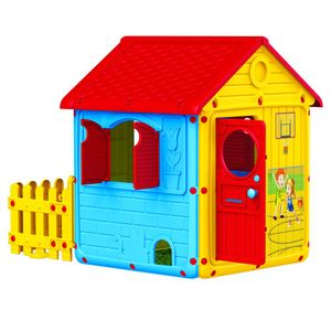 Mein erstes Haus mit Zaun Spielhaus mit Türen, Fenster, Zaun