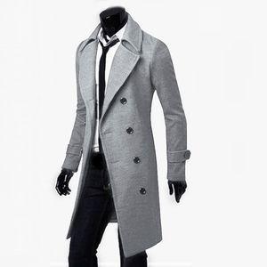 Lässige Trenchcoat-Mode für Herren Langer, schmaler Mantel Jacke Outwear Größe:L,Farbe:Grau