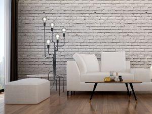 5 flammige Industrial Style LED Stehlampe Schwarz Industriedesign Wohnzimmer