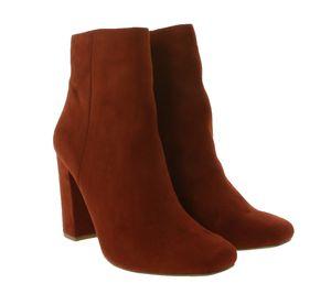 STEVE MADDEN Stiefelette klassische Damen Absatz-Schuhe Wildleder-Optik Rot, Größe:40