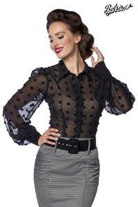 Vintage-Bluse Langarm transparentem Effektstoff, Farbe: Schwarz, Größe: L