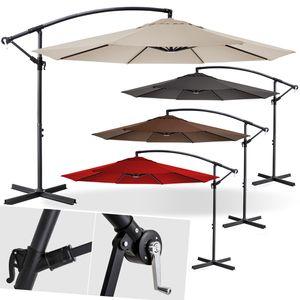 KESSER® Alu Sonnenschirm Ø300cm Ampelschirm + Handkurbel Schirm Gartenschirm 3m, Farbe:Grau