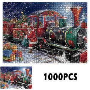 Weihnachtspuzzle 1000 Stück Dekompression Lernspielzeug 1 Weihnachtszug Steckpuzzles
