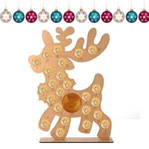 Holz Adventskalender Weihnachten Rentier Elch Fit 25 Runde Pralinen Ständer Rack Nachbildung