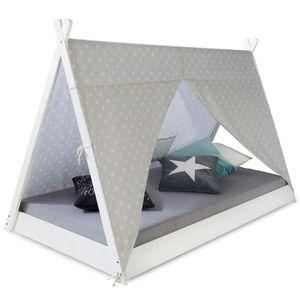 Homestyle4u 1847, Kinderbett 90x200 cm, Tipi Zelt Weiß Grau Mit Sterne, Holz Kiefer