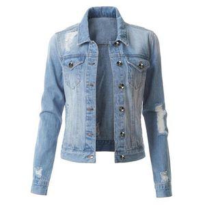 Damen Casual Fashion Jeansjacke Jean Coat Perlen Outwear Mantel LRR90821615 Größe:S,Farbe:Hellblau
