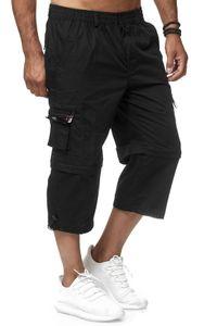 Herren Cargo Shorts Freizeit Zip Hose 3/4 Schlupfhose Verstellbare Beinlänge, Farben:Schwarz, Größe Shorts:XXL