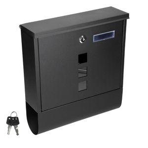 ECD Germany Design Briefkasten mit Zeitungsfach - Pulverbeschichtetet Stahl - Schwarz - LxBxH 30,5 x 10 x 33,5 cm - Sichtfenster - 2 Schlüssel und Montagematerial - Wandbriefkasten Postkasten Mailbox