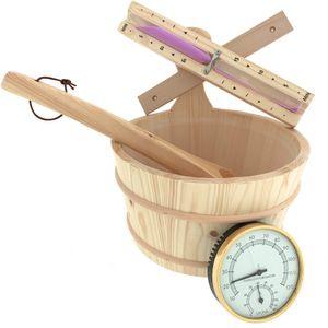 Dewello Saunaeimer Kelle Thermometer Sanduhr, Lieferumfang:Eimer&Kelle&Sanduhr&Thermometer
