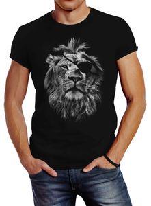 Cooles Herren T-Shirt Löwe Print Aufdruck Motiv Slim Fit Neverless® schwarz XL