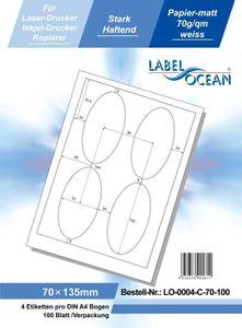 400 Etiketten, selbstklebend 70x135mm, weiße Universal-Etiketten, 70g/qm von LabelOcean (R) LO-0004-C-70-100