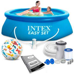 Intex 305x76 cm Easy Set Swimming Pool Schwimmbecken 28122 mit Extra-Zubehör: Strandball