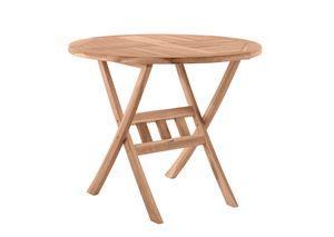 Möbilia Gartentisch rund 80 cm aus Teak Holz   klappbar   B 80 x T 80 x H 75 cm   natur   11020000   Serie GARTEN