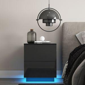 Nachtschrank Kommode Nachttisch Schublade Schlafzimmer Holz Hochglanz RGB LED