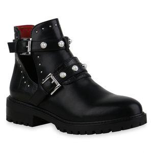 Mytrendshoe Damen Stiefeletten Ankle Boots Blockabsatz Zierperlen Schuhe 835443, Farbe: Schwarz, Größe: 37