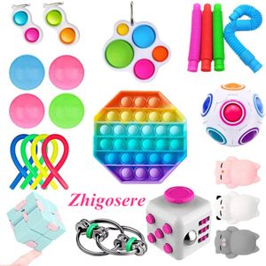 23 Stück / Set Push Bubble Fidget Antistress Toys Erwachsene Kinder Pop Fidget Sensory Toy