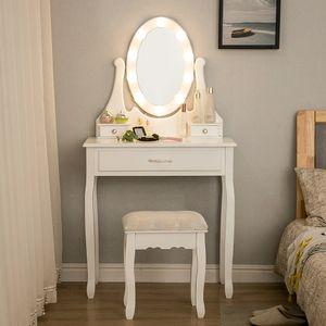 Schminktisch mit 10 LED Beleuchtung, Spiegel und Hocker, Frisiertisch Kosmetiktisch Kommode 75x40x139cm Weiß