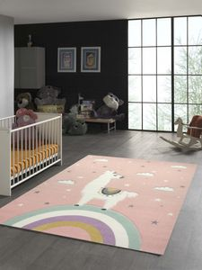 Kinderteppich Lama Einhorn Wolken in Rosa Größe - 140x200 cm