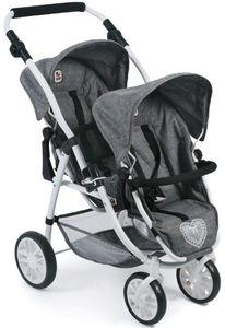 Tandem-Buggy VARIO für Puppen, Jeans grey