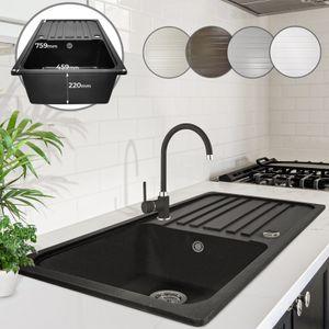 Aquamarin® Spülbecken - in Schwarz, Granit, ca. 75,9 x 45,9 cm, mit Abtropffläche, Rechteckig, Reversibel, Gesprenkelt - Küchenspüle, Einbauspüle, Spüle, Verbundspüle, Küchenspüle