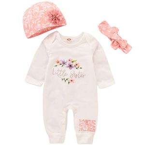 Neugeborene Baby Mädchen Outfits Langarm-Strampler mit Blumenmuster + Blumenm Hut + Kleidungsset mit Schleifenstirnband 3 Stück 3-6 Monate (62-68) Farbe:Rosa