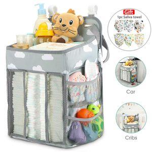 Babybettzubehör,Kinderwagen Hängetasche, multifunktionale Kinderbett Aufbewahrungstasche, Baby Wickeltasche, grau