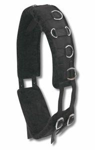 AMKA Longiergurt mit weichem Kunstfell unterlegt, 12 Ringe, schwarz, Größe:Warmblut