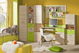 Jugendzimmer Komplett - Set B Dennis, 5-teilig, Farbe: Esche Grün