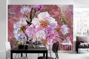 """Komar Vlies Fototapete """"Blooming Gems"""", rosa/weiß, 368 x 248 cm"""