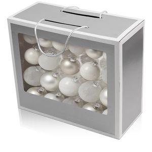 42er Weihnachtskugel-Set Ø5/5,5/6,5cm Glas Weiß/Silber