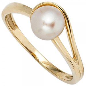 JOBO Damen Ring 585 Gold Gelbgold 1 Süßwasser Perle Goldring Größe 52