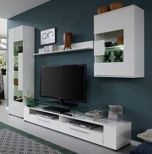 """Wohnwand in Glanz weiß 265 x 182 cm Schrankwand 4-teilig für TV-Geräte bis 60"""" - Trendteam Jump"""