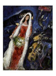Marc Chagall Poster Kunstdruck - La Mariee (80 x 60 cm)