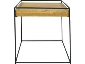 Torna Design Thin Wood - Couchtisch - 46x46x46 cm - Schwarzer Stahl/Eiche