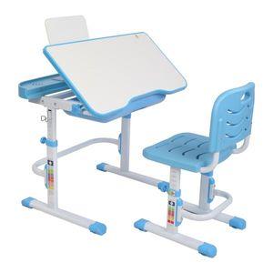 Kinderschreibtisch hoehenverstellbar, Schuelerschreibtisch Kindermoebel neigungsverstellbar, Kindertisch  Blau