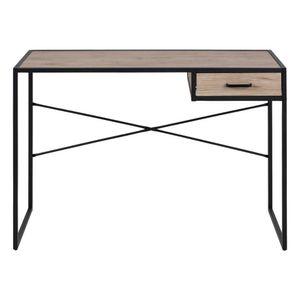 Selsey Schreibtisch SEAFORD - Bürotisch in Schwarz / Holzoptik mit Schublade und Metallgestell, 110 cm breit