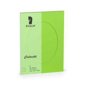 Rössler Papier - - Coloretti-5er Pack PP-Karte B6 oval, hellgrün - Liefermenge: 10 Stück
