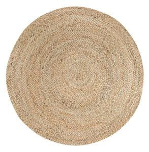 Orientteppich 80 cm rund geknüpft Natur Braun  Teppich Jute Rund Geflochten Creme