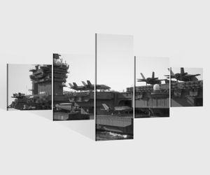 Leinwandbild 5 tlg. 200cmx100cm Flugzeug Flugzeugträger Krieg Schiff schwarz weiß Bilder Druck auf Leinwand Bild Kunstdruck mehrteilig Holz 9YA1818, 5Tlg 200x100cm:5Tlg 200x100cm