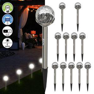 """12x Solar LED Wegleuchten """"Crackle Glas"""", 6cm Durchmesser, Garten, Deko, Beleuchtung, Bodenstecker"""
