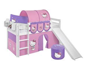 Lilokids Spielbett JELLE Hello Kitty Lila - Hochbett - weiß - mit Rutsche und Vorhang - Maße: 113 cm x 208 cm x 98 cm; JELLE3054KWR-HELLOKITTY-L