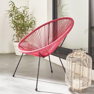 ACAPULCO eiförmiger Sessel - Bordeaux - 4-beiniger Sessel im Retro-Design, Kunststoffschnur, innen / außen