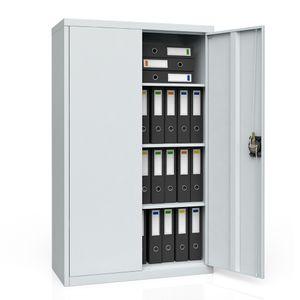 Aktenschrank Büroschrank Werkzeugschrank Metallschrank Universal Schrank grau 3 Einlegeböden