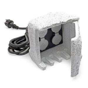 4-fach Gartensteckdose Außensteckdose Kunstharz IP44 Outdoor Steinoptik 5m Kabel