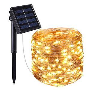 100 LED Lichterkette Solar Kupferdraht Außenbeleuchtung Weihnachten Garten