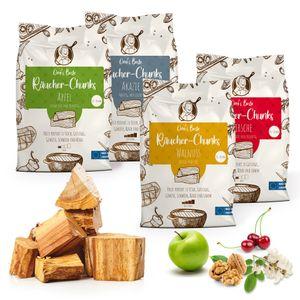 Omi's Beste© XXL Packung Räucherchunks Probier-Paket Apfel Kirsche Walnuß Eiche Akazie ca.1,5kg je Sorte & Ø 5-8cm - BBQ Räucherklötze kräftiges Raucharoma | natürliches & traditionelles Smoker-Holz