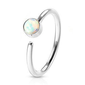 viva-adorno 0,8mm Nasenring Nasenpiercing Piercing Hoop Ring Opal Tragus Helix Cartilage Rook Ohrpiercing Z520,silber / weiß