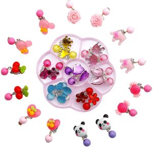 Kinder Ohrringe Klips, 14 Paare Clip-on Mädchen Ohrringe Mädchen Spiel Ohrringe Prinzessin Klipp Ohrring Set für Party Gefallen Verpackt