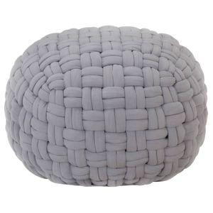 vidaXL Pouf Geflochtenes Design Grau 50 x 35 cm Baumwolle